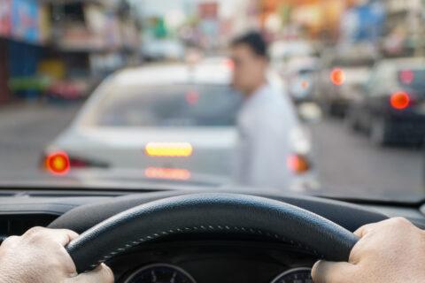 car emergency brake saved a life pedestrian runs across street.